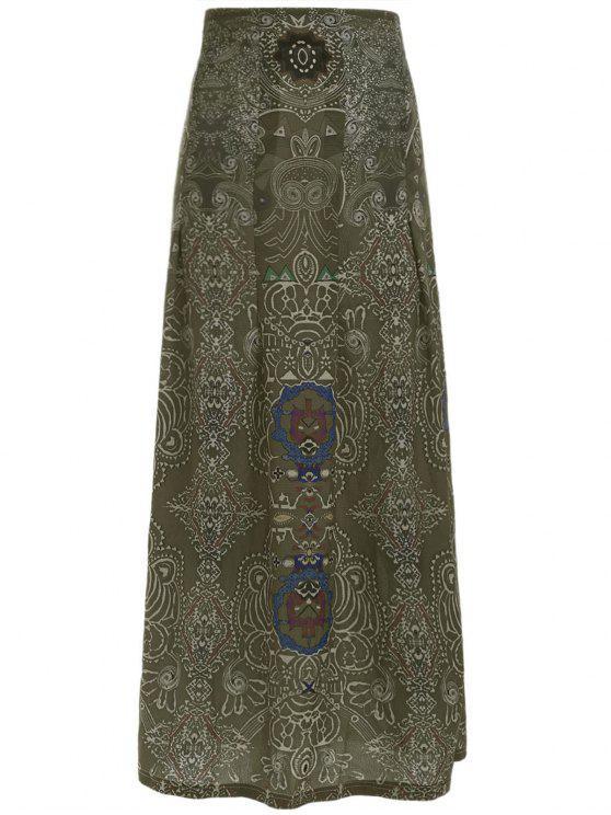 online Printed Pleated Bohemian Skirt - GREEN S