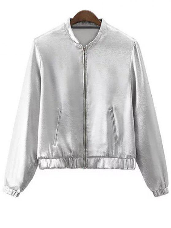 latest Silver Stand Neck Silver Zipper Up Jacket - SILVER L