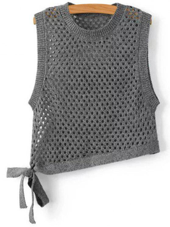 women Asymmetric Knitted Tank Top - DEEP GRAY S