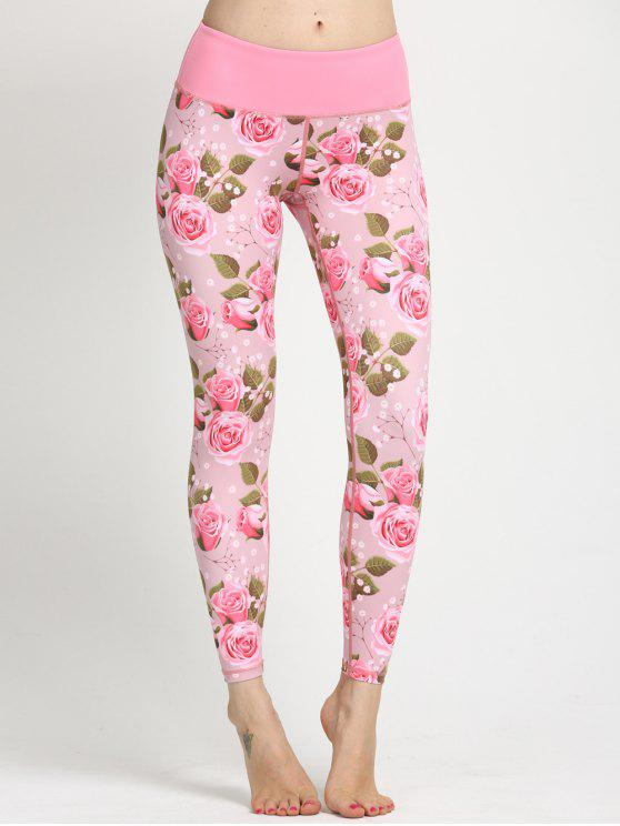 affordable Floral Print Curve Leggings - SHALLOW PINK XS