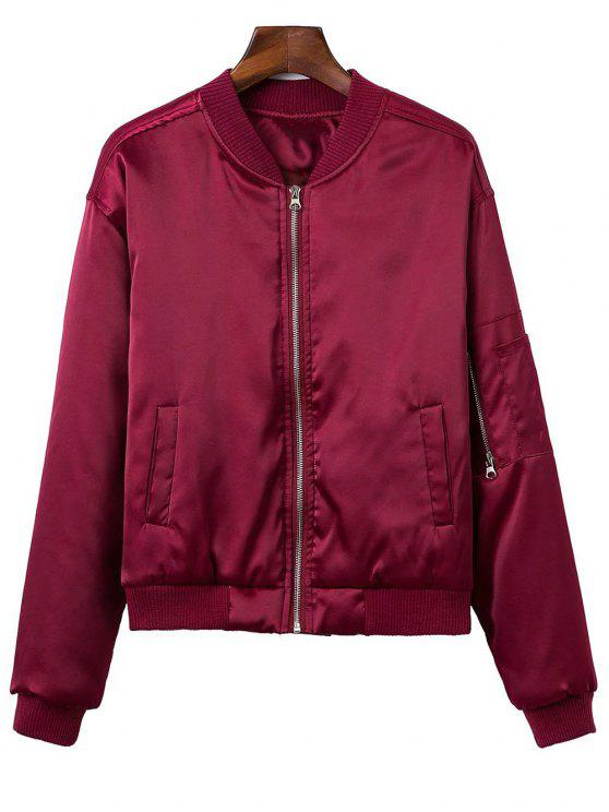 womens Zipped Windbreaker Jacket - WINE RED XS