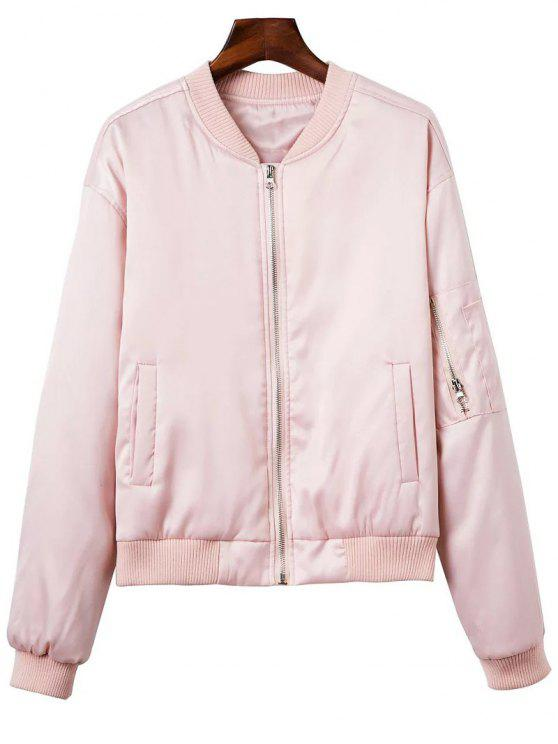 ladies Zipped Windbreaker Jacket - PINK S