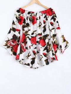 Off The Shoulder Bell Sleeve Floral Strapless Romper - L