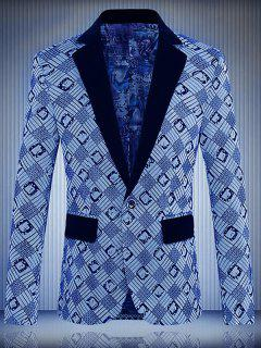 Geometric Printed One-Button Lapel Long Sleeve Blazer For Men - Blue Xl