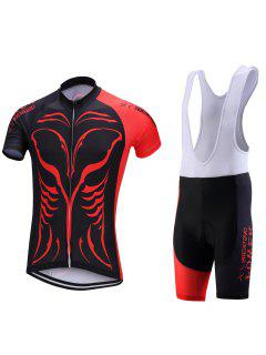 Muscle Print Color Block Spliced Zip-Up Stand Collar Cycling Suit ( T-Shirt + Bib Shorts ) For Men - Red Xl