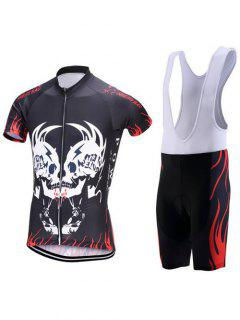 Symmetrical Skull Print Zip-Up Stand Collar Cycling Suit ( T-Shirt + Bib Shorts ) For Men - Black 2xl