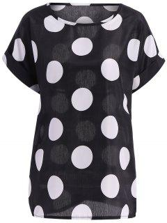 Plus Size Polka Dot Pattern Short Sleeves Tunic Blouse - Black M