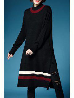 Streifen Slit Langarm Sweater - Schwarz L