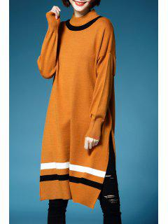 Streifen Slit Langarm Sweater - Orange  M