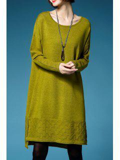 Un Vestido De Suéter De Manga Larga Línea De Corte - Color De Celadon L