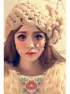 Petal Flower Beaded Knitted Hat - Apricot