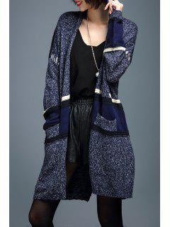 Color Block Long Sleeve Slit Cardigan - Blue