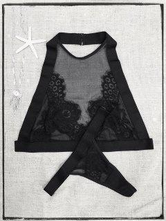 Lace Mesh Halter Bra Set - Black S
