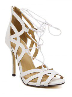 Lace-Up Zipper Solid Colour Sandals - White 37