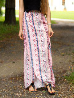 Ethnic Print A Line Slit Skirt - Pink L