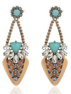 Rhinestone Geometric Earrings Jewelry - Yellow