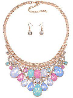 Faux Crystal Wedding Party Jewelry Set - Golden
