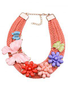 Butterfly Floral Woven Necklace