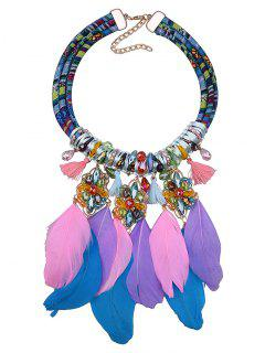 Feather Floral Tassel Necklace