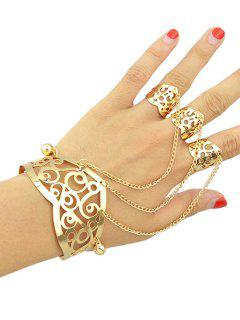 Hollow Out Bracelet With Ring - Golden One-size