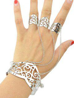 Hollow Out Bracelet With Ring - Silver One-size