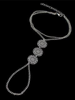 Engraved Blossom Coin Anklet - Silver