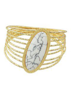 Faux Rammel Layered Oval Bracelet - White
