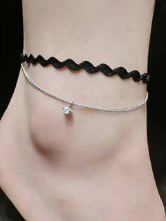 Rhinestone Faux Leather Layered Thread Anklet - Silver