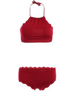 Atado Al Cuello Festoneado Set Bikini - Vino Rojo S