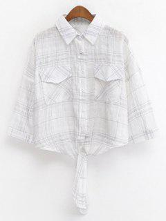 Shirt Col Noué Recadrée Grille-shirt - Blanc