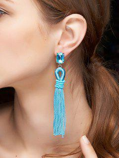 Faux Crystal Tassel Drop Earrings - Blue