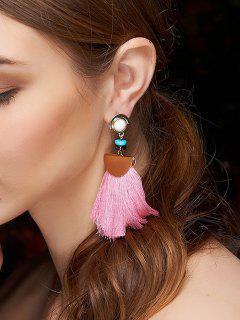 Alloy Semi-Circle Tassel Earrings - Pink