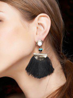 Bead Semicircle Tassel Earrings - Black