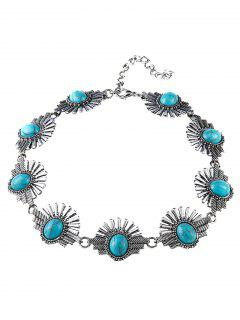 Faux Turquoise Sunrise Necklace - Blue