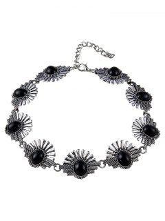 Faux Gemstone Sunrise Necklace - Black
