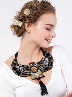 Rhinestone Eagle Beaded Necklace - Black