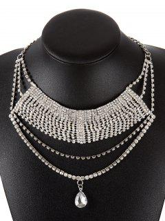 Teardrop Layered Rhinestoned Necklace - Silver