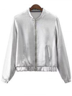 Silber Stehen Hals Silber Zipper Up Jacke - Silber M