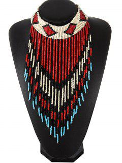 Bead Fringe Choker Necklace - Red