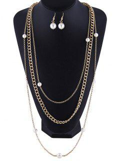Layered Necklace And Earrings - Golden