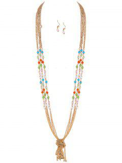 Knot Beaded Necklace And Earrings - Golden