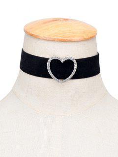 Rhinestone Heart Choker Necklace - Black
