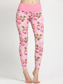 Leggings De Courbure D'impression Floral - Rose Clair M