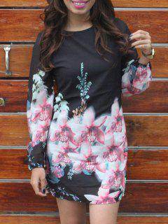 Printed  Long Sleeves Round Collar Chiffon Dress - Black Xl