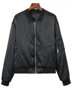 Zipped Windbreaker Jacket - Black Xs