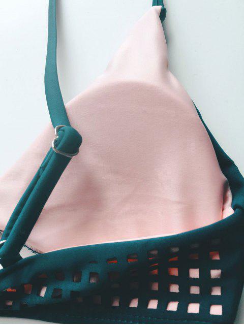 outfits Laser Cutwork Two-Tone Bikini Set - BLACKISH GREEN L Mobile