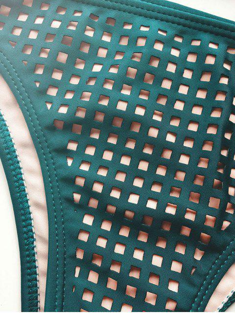 shops Laser Cutwork Two-Tone Bikini Set - BLACKISH GREEN S Mobile