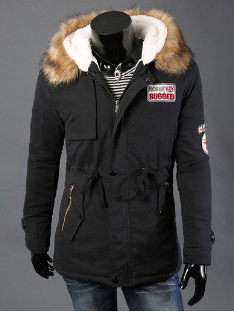 Taille coulissée patché capuche en fausse fourrure à manches longues manteau rembourré pour les hommes - Noir M Mobile