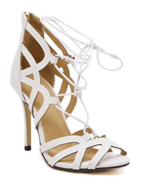 lady Lace-Up Zipper Solid Colour Sandals - WHITE 36 Mobile