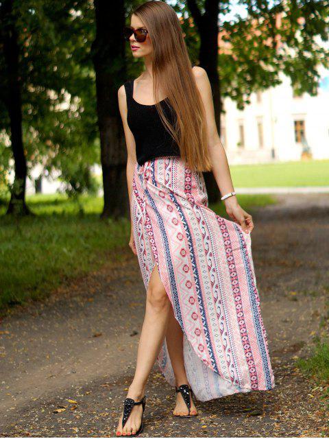 fashion Ethnic Print A Line Slit Skirt - PINK M Mobile